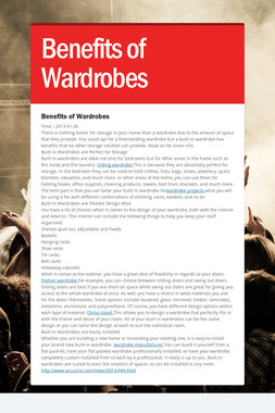 Benefits of Wardrobes