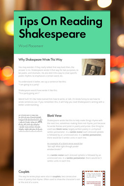Tips On Reading Shakespeare