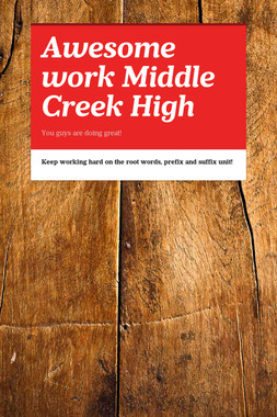 Awesome work Middle Creek High