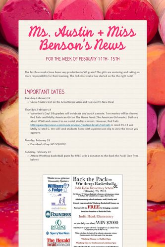 Ms. Austin + Miss Benson's News