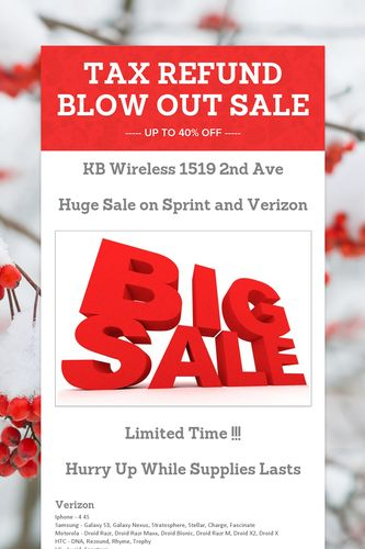 TAX REFUND BLOW OUT SALE
