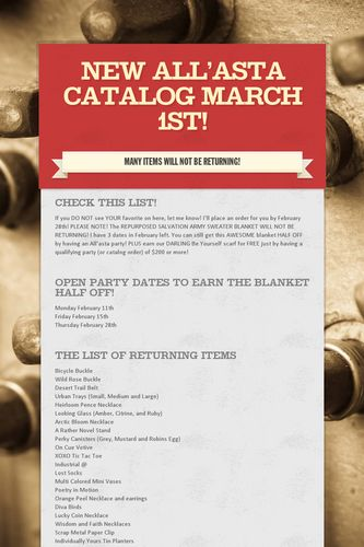New All'asta Catalog March 1st!