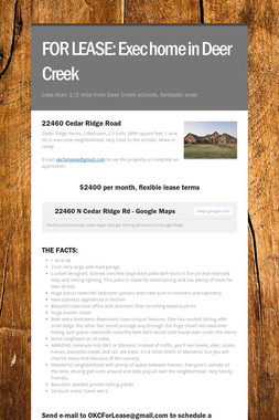 FOR LEASE:  Exec home in Deer Creek