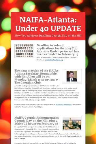 NAIFA-Atlanta: Under 40 UPDATE