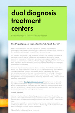 dual diagnosis treatment centers