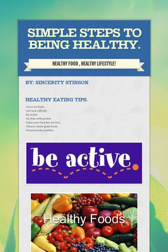 Simple Steps to being healthy.