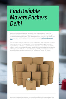 Find Reliable Movers Packers Delhi