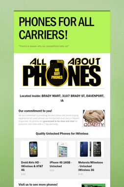 PHONES FOR ALL CARRIERS!
