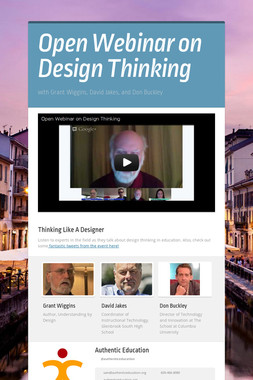 Open Webinar on Design Thinking