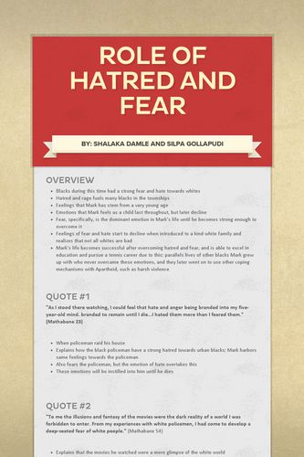 Role of Hatred and Fear
