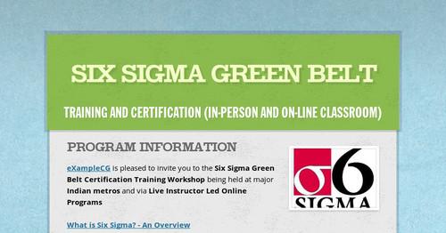 Six Sigma Green Belt Smore Newsletters