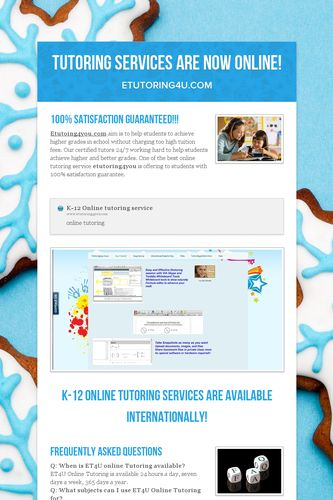 Tutoring Services are Now Online!