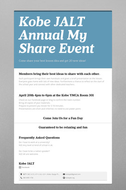Kobe JALT Annual My Share Event
