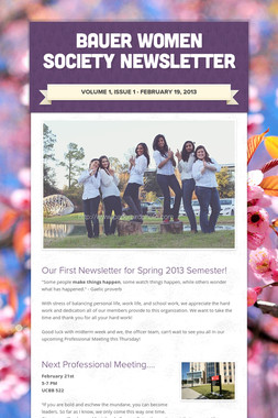 Bauer Women Society Newsletter