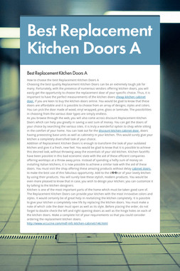 Best Replacement Kitchen Doors A