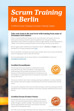Scrum Training in Berlin