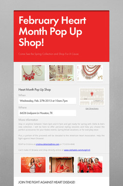 February Heart Month Pop Up Shop!