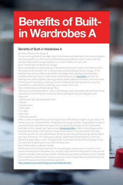 Benefits of Built-in Wardrobes A