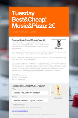 Tuesday Best&Cheap! Music&Pizza: 2€