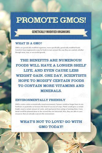 PROMOTE GMOs!