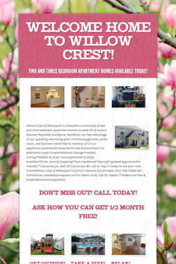 Welcome Home to Willow Crest!