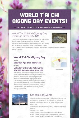 World T'ai Chi Qigong Day Events!
