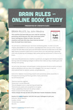 Brain Rules ~ Online Book Study