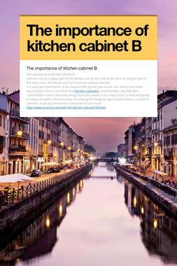 The importance of kitchen cabinet B