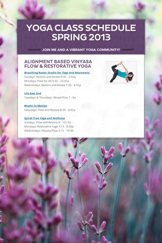 Yoga Class Schedule Spring 2013