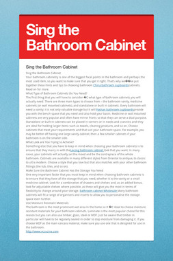 Sing the Bathroom Cabinet