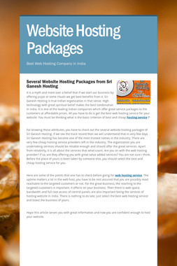 Website Hosting Packages