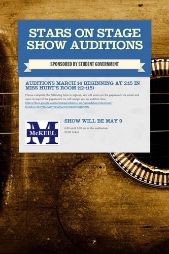 Stars on Stage Show Auditions