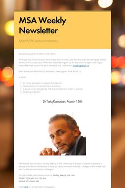 MSA Weekly Newsletter