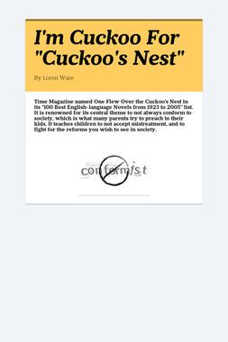 "I'm Cuckoo For ""Cuckoo's Nest"""