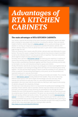 Advantages of RTA KITCHEN CABINETS