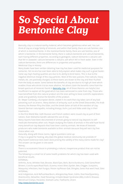 So Special About Bentonite Clay