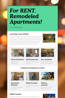 For RENT. Remodeled Apartments!