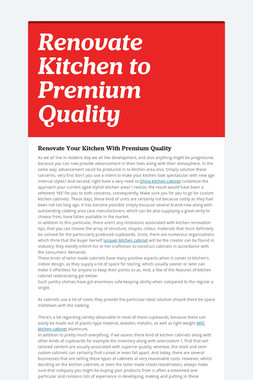 Renovate Kitchen to Premium Quality