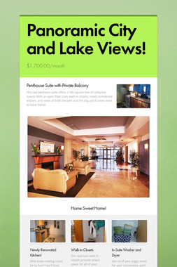 Panoramic City and Lake Views!