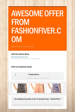 AWESOME OFFER FROM FASHIONFIVER.COM