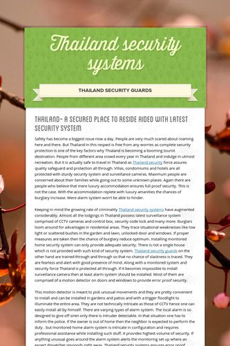 Thailand security systems