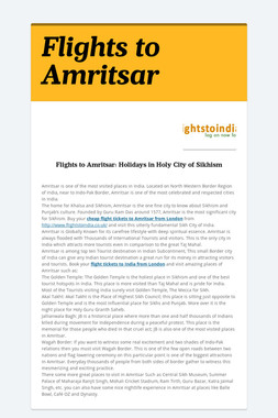 Flights to Amritsar