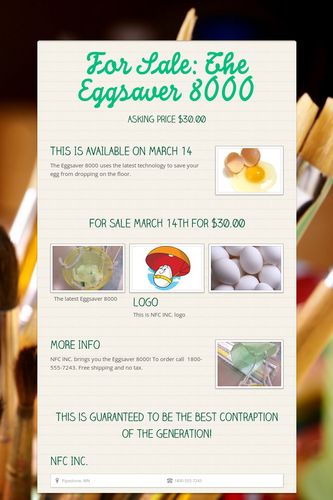 For Sale: The Eggsaver 8000