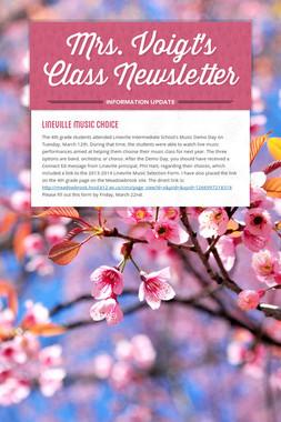 Mrs. Voigt's Class Newsletter
