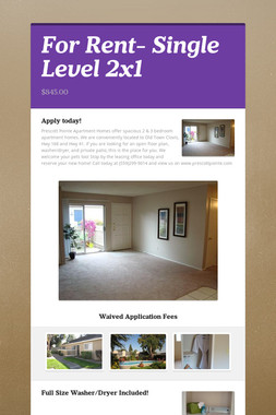 For Rent- Single Level 2x1