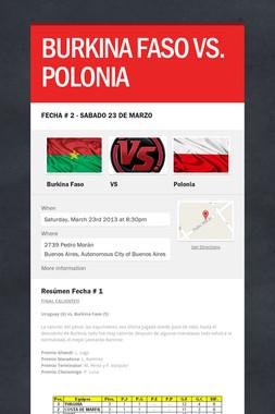 BURKINA FASO VS. POLONIA