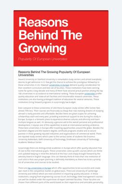 Reasons Behind The Growing