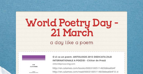 World Poetry Day  -  21  March