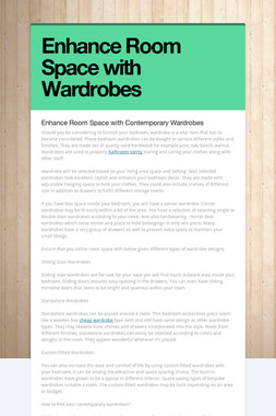 Enhance Room Space with Wardrobes
