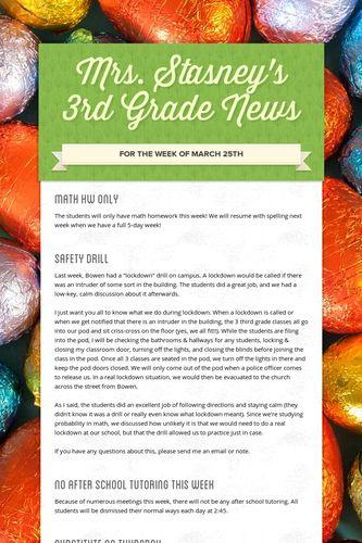 Mrs. Stasney's 3rd Grade News